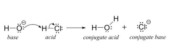 In an acid base (or neutralization) reaction, the H+ ions from the acid and the OH  ions from the base react to create water