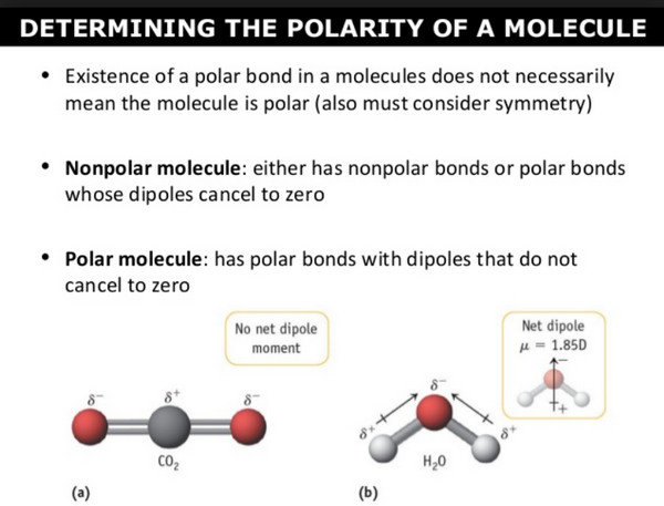 In chemistry, polarity is a separation of electric charge leading to a molecule or its chemical groups having an electric dipole or multipole moment