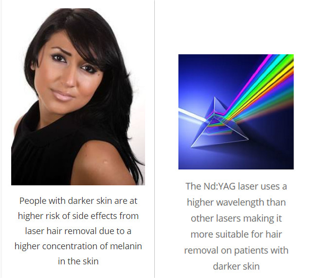 NdYAG laser uses 1064nm wavelength, making it more suitable for hair removal on patients with darker skin