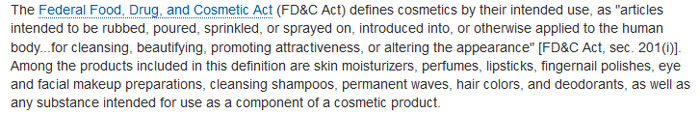 cosmetic definition fda