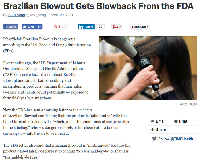 fda says brazilian blowout is adultrated and misbranded