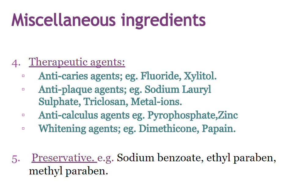 miscellaneous ingredients in mouthwash 2