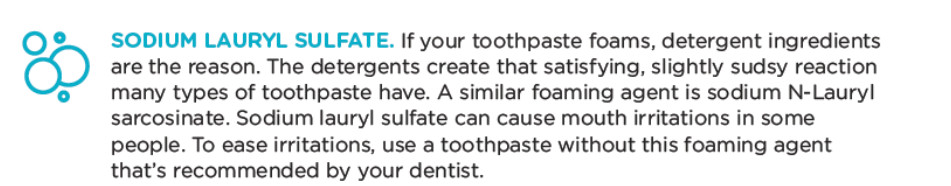 toothpaste ingredients sodium lauryl sulfate