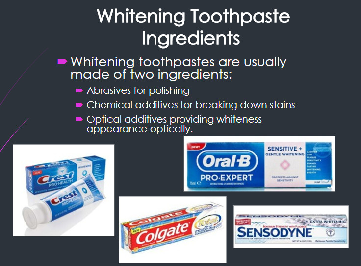 whitening toothpaste ingredients abrasive chemical optical