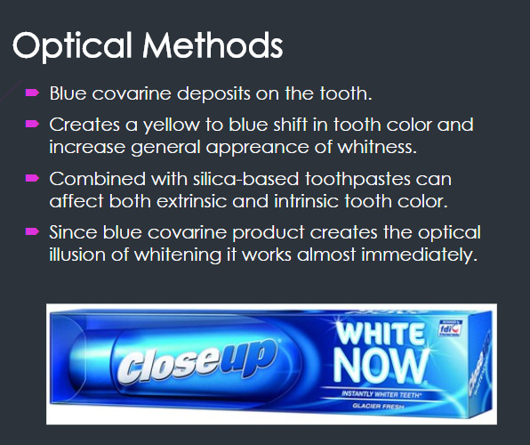 whitening toothpaste optical methods